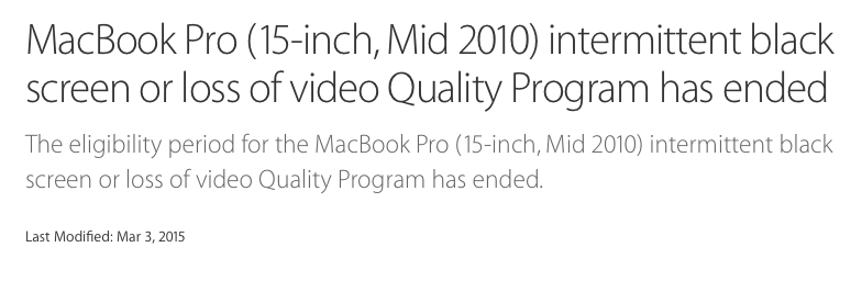 MBP 2010 repair program ended